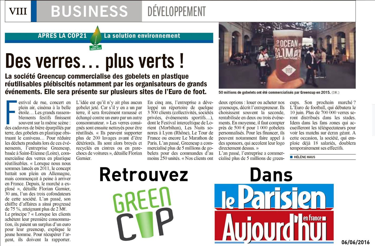 Business développement Greencup