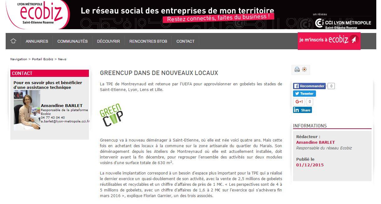 Lyon metropole St-Etienne Roanne ecobiz Greencup